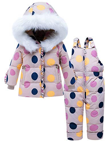 ZOEREA Traje de Nieve para Bebé Niña Puntos Colores Abrigo Chaqueta de Esquí con Capucha y Pantalón...