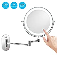 alvorog Wall Mount LED Lighted Makeup Mirror 5X Magnifying Cosmetic Mirror 360° Swivel Extendable Two Sided Vanity Mirror for Bathroom, Powered by 4 x AAA Batteries (Not Included)