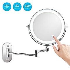 Idea Regalo - alvorog Specchio Ingranditore con luce LED, Specchietti da Trucco a Parete Bilaterali, Lente d'ingrandimento 5x e Specchio Piatto, Cromato in Metallo, Carica dalla batteria (non inclusa)