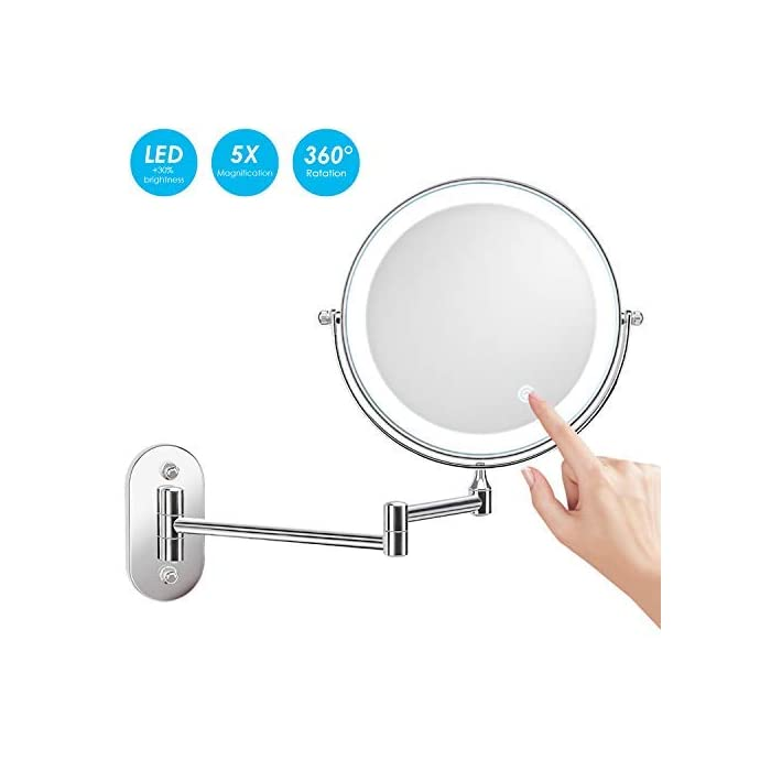 alvorog Kosmetikspiegel LED Beleuchtet Make-up Spiegel Wandspiegel 360°Schwenkbar Faltbar Wandmontage Beleuchtung für…