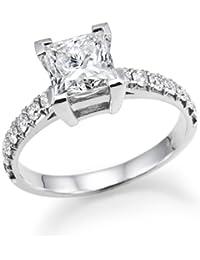1ctw. Prinzessschliff Diamant Solitaire Verlobungsring in 14K Weiß Gold