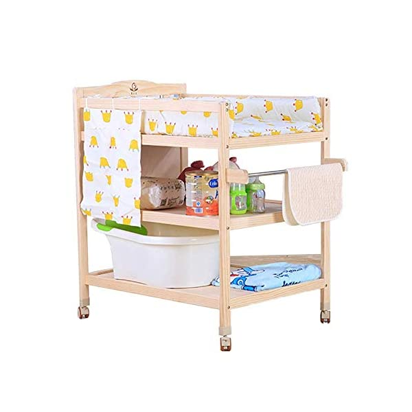 CWJ Small Bed for Look After Baby Without Bending Over,Diaper Changing Tables with Brake Wheel,Wooden Diaper Station Organizer for Infant,Table with Storage Storage Desk,Blue CWJ [Dimension]:86×64×95Cm(1Cm=0.39Inch), Load up 45Kg. Easy Assembly Required. [Stable Structure]:Made of Solid Wood. Four Brake Wheels Makes It Flexible to Move & Stop. a Safety Belt is Equipped on the Cushion for Added Security. [Large Storage Spaces]:Equipped 2 Storage Layers, You Can Place Soaps, Towels and Any Other Accessories Conveniently. 4