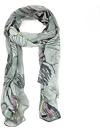 Fashion Women Ladies Long Style Begonia Flower Voile Ink Chiffon Shawl Neck Scarf Soft- 4 seasons (Gray)