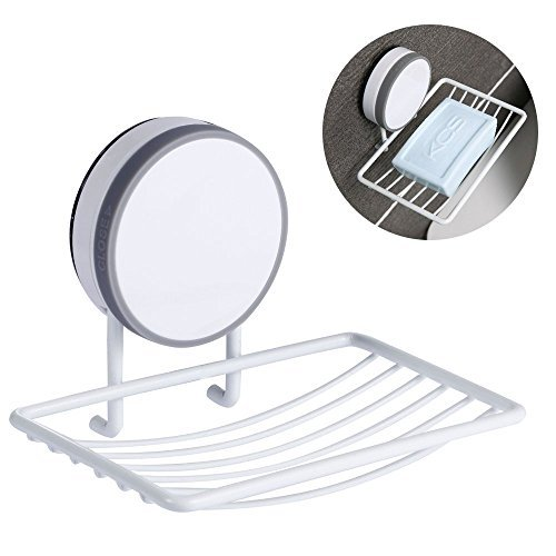 Super Power Vacuum Suction Cup Soap Dish Holder, CAVN Adhesive and Reusable Waterproof Soap Dish Holder Storage Saver Wall Mounted for Kitchen Bathroom Shower, No Drill, No Mark
