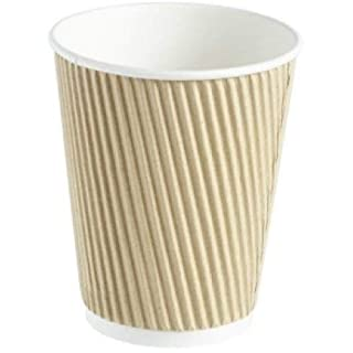 2 x 500 x Kraft 12oz Ripple 3 Ply Disposable Insulated Paper Cups for Tea Coffee Cappuccino Hot Drinks Beige