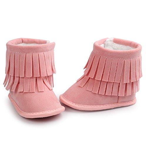 Longra Bébé double-pont glands Doux Bottes de neige Chaussures Soft Crib Bottes pour tout-petits (#12, Pastèque Rouge) Rose-A
