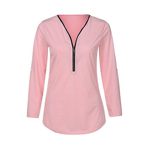 iYmitz Tops Automne Hiver Femmes T-Shirt décontracté pour Femme T-Shirt à col en V pour Femmes(Rose,S)