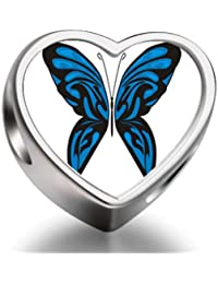 Exotic Blue Butterfly Heart Photo Charm Beads Fit Pandora Chamilia Biagi beads Charms Bracelet
