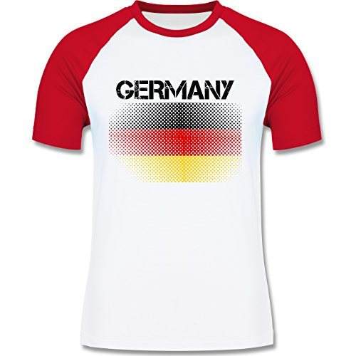 EM 2016 - Frankreich - Germany Flagge - zweifarbiges Baseballshirt für Männer Weiß/Rot