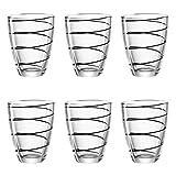 montana:: :Jolly Trinkglas, 6er Set, Wasserglas, Saftglas, Trinkbecher, Wasser Glas, Schwarz, 220 ml, 057344
