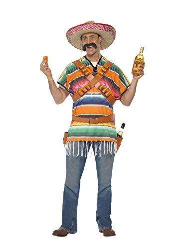 Smiffys Herren Tequila Shooter Kostüm, Poncho, Patronengürtel und Gürtel mit Flaschen-Holster, One Size, - Tequila Kostüm