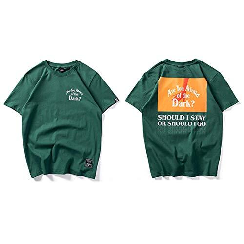 Kurzarm Sommer Hip Hop T-Shirt der dunklen Print Hand Top Tee Mode Männer Casual Streetwear Green S -