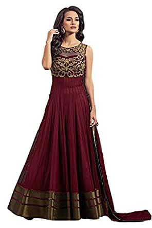 Maxthon Fashion Women's Maroon Georgette Net Embroidery Anarkali Unstitched Free Size XXL Salwar Suit Dress Material (Women's Indian Clothing 2042)