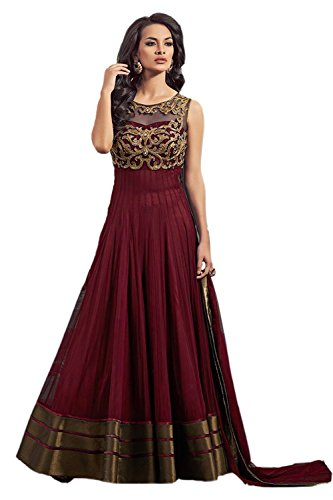 Maxthon Fashion Women\'s Maroon Georgette Net Embroidery Anarkali Unstitched Free Size XXL Salwar Suit Dress Material (Women\'s Indian Clothing 2042)