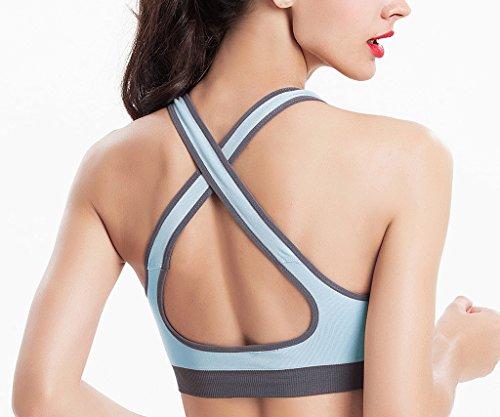 OCHENTA Femme Soutien-Gorge de Sport Sans Armatures Bra Lingerie Yoge Brassiere Course Bleu clair