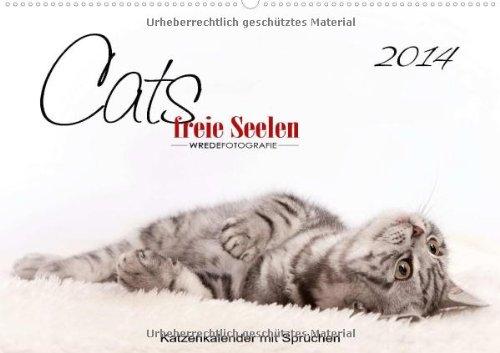 """Katzenkalender mit Sprüchen, """"Cats - freie Seelen"""" (Wandkalender 2014 DIN A2 quer): Katzenkalender mit Sprüchen und Zitaten (Monatskalender, 14 Seiten)"""