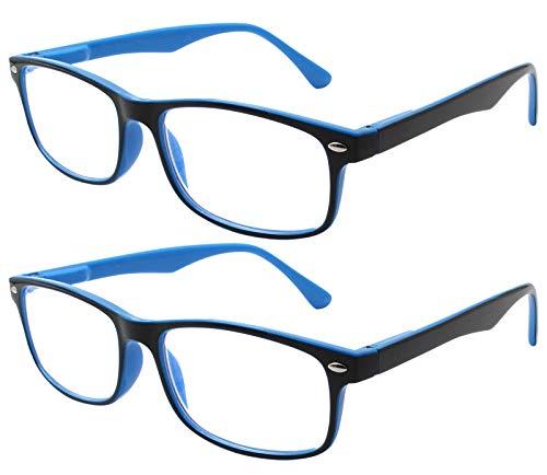 7237edd1bf TBOC Gafas de Lectura Presbicia Vista Cansada - (Pack 2 Unidades) Graduadas  +1.50