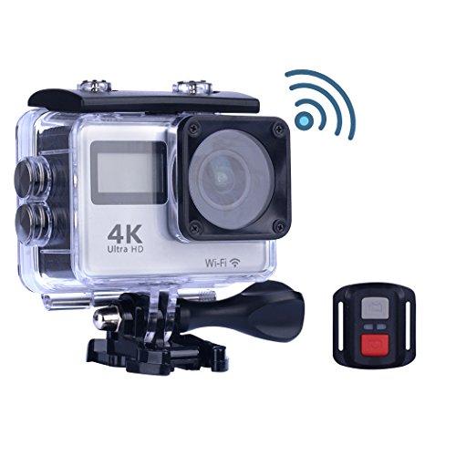 Caméra Sport/Caméra d'action, 4K Ultra-HD Caméras Etanches Wifi -Avec 170°Grand Angle Lentille + Double Écran + Télécommande (A)