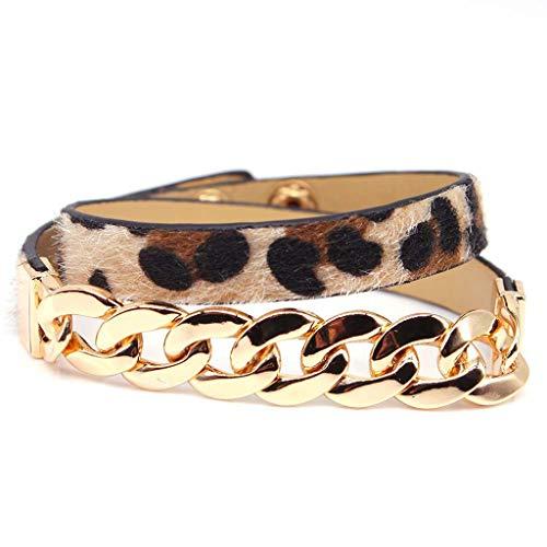 VIccoo Handgemachte Pferdehaar Leder Leopard Armband Gürtelschnalle Armreifen Frauen Schmuck - 1# -