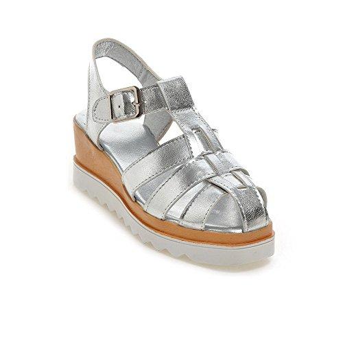 b9d7dfe3fa3e88 VogueZone009 Damen Weiches Material Schnalle Offener Zehe Mittler Absatz  Sandalen Silber
