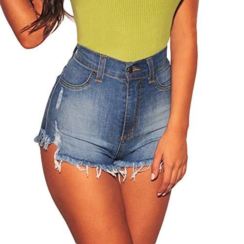 Ausverkauf ! Proumy Frauen Mode Damen Quasten Spitze Jeans Skinny Tasche Zipper Hot Pants Shorts Denim Hosen(L, Blue c) - Süße Dollar Unter Jeans 10