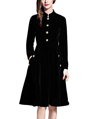 Femmes Velours Chaud Robe à Manches Longues Swing Big Noir