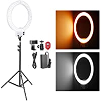 Neewer 18 Zoll weißes LED Ringlicht mit Lichtstativ Set dimmbar 50W 32000-5600K mit Farbfilter,Blitzschuh Adapter,Handy Halter für Make up,Kamera/Smartphone YouTube Video Aufnahmen