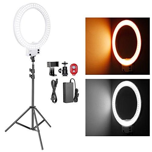 Neewer 18-Zoll weißes LED Ring Licht mit Licht Stativ Beleuchtung Set dimmbar 50W 32000-5600K mit Farbfilter, Blitzschuh-Adapter, Handy-Halter für Make-up, Kamera / Smartphone YouTube Video Aufnahmen