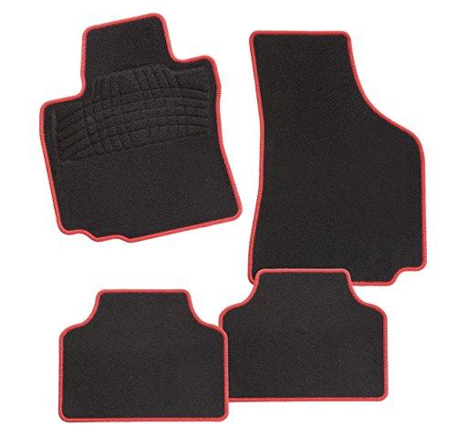 CarFashion 242422 Calypso Rot DL4 | Auto Fussmatte in schwarz | Automatten | schwarzer Trittschutz | rote Hochglanz Kettelung | Auto Fussmatten Set ohne Mattenhalter - Fiat 500 Autoteppich, Fußmatte