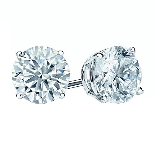 Boucles d'oreilles avec diamants ronds taillés brillants D/VS en or blanc 18carats avec fermoir à visser