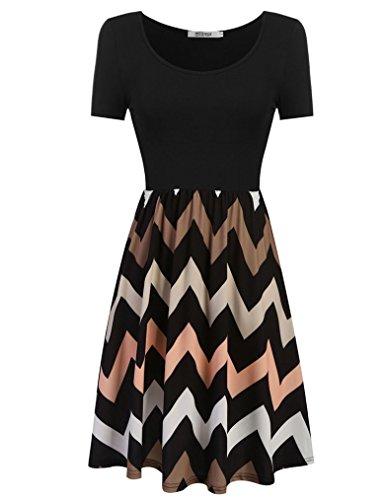 OURS Damen O-Ausschnitt Lange Ärmel Stretch Streifen Casual Basic Kleid  Franki Skaterkleid MiniKleid Schwarz
