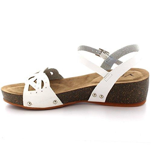 Damen Keilabsatz Holzsohle Spitze Fesselriemen Diamante Sommer Sandale Weiß