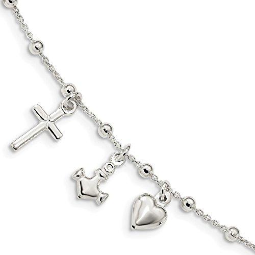 Diamond2Deal Damen 925Sterling Silber Poliert Kreuz Herz Anker Armband 15,2cm