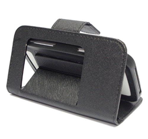 Custodia flip sottile color Nero con chiusura a libro e doppia
