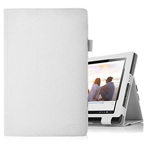 Lenovo Miix 310 hülle, IVSO hochwertiges PU Leder Etui hülle Tasche Case - mit Standfunktion,super 360° Anti-Wrestling, ist für Lenovo Miix 310 25,65 cm (10,1 Zoll HD) Tablet PC perfekt geeignet, Weiß