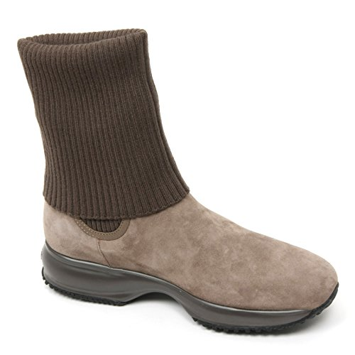 B9392 stivaletto donna HOGAN INTERACTIVE scarpa marrone/beige boot shoe woman Marrone/Beige
