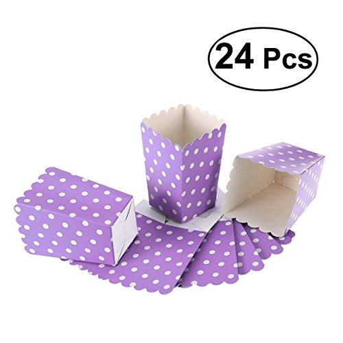 NUOLUX Popcorn Boxes,Candy Container Papiertüten Snack Box, 24 Stück (Lila) (Und Gold Lila Candy)