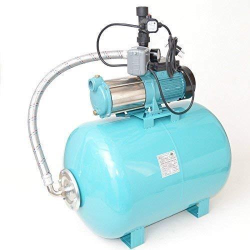 100 L Hauswasserwerk Gartenpumpe MHI1300 1300Watt robuste und rostfreie Edelstahlwelle + integrierter thermischer Schutzschalter Fördermenge: 6000l/h + Trockenlaufschutz + Druckschalter + Rückschlagventil.