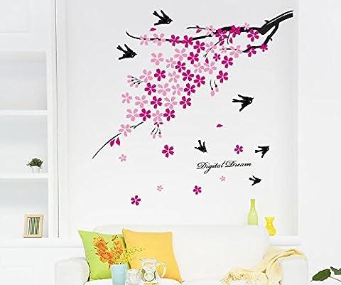 E-Spring Love rosa Blumen, Vögel, Fliegen, Reiten, Motiv Dream Wandsticker, abnehmbar Aufkleber für Home Decor