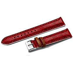 iCreat 14mm Top Genuine Leather Watch Strap Band - Happy Valentine'S Day Passion Red Palace Pattern