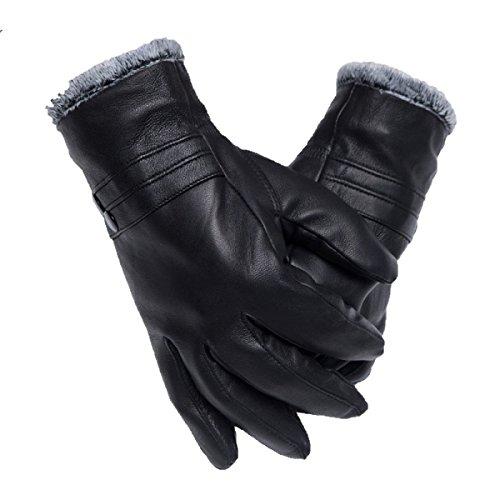 GBT Men 'S Leder Winter Motorrad Driving Handschuhe Kurze Mode Super Warm - Leder-motorrad-mütze