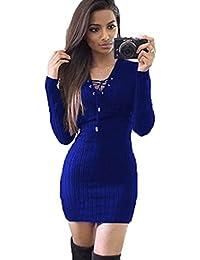 K-youth® Mujer Vestido de Punto Básico Vestido de Fiesta Elegante Moda Jersey  Invierno ddf34e04f55a