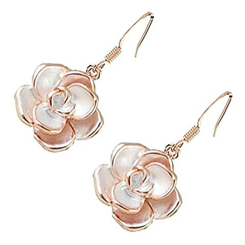 GWG® Boucles D'Oreilles Pendantes Blanches Pour Femmes Plaquées En Or Rose 18K En Forme De Fleur Rosebud Avec Des Feuilles