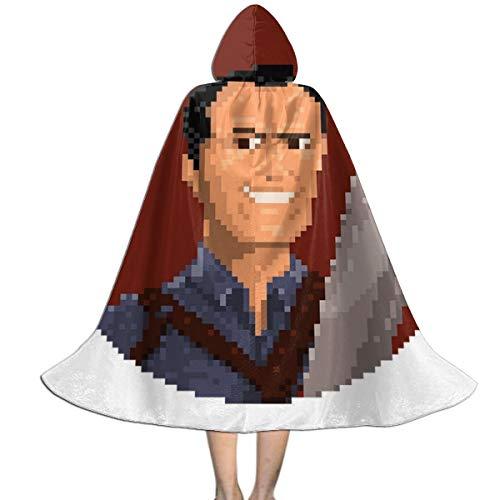 Dead Ash Kostüm Evil - NUJSHF Ash Vs Evil Dead Pixel, Unisex-Kinder Umhang mit Kapuze, Halloween, Party-Dekoration, Rolle, Cosplay, Kostüme Outwear