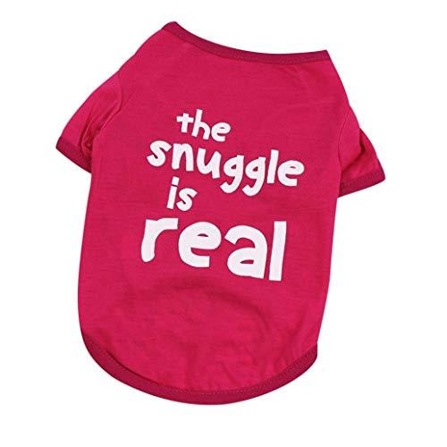Vektenxi Small Size Hundebekleidung, Lovely Letter Hund T-Shirt Summer Puppy Kostüm-Die Single ist Real M, Hot Pink Durable und - Dies Ist Kostüm