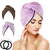 WOSTOO Asciugamano Capelli a Turbante, 2 Pezzi Hair Towel in Microfibra Asciugatura Rapida Super Assorbenti Towel Master con Bottone per Capelli Lunghi e Capelli Corti Ragazza - (Marrone Viola)