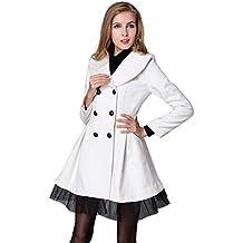 Damen Trenchcoat Mantel TUDUZ Frauen Wintermantel Elegant Pea Coat Parka Herbst Schlank Lang Zweireiher Trenchcoat Cardigan Blazer Revers Tasche Outwear
