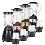 KochBurg© Glas Standmixer Edelstahl 800 Watt Smoothie Mixer Maker Universal Mixer 1,5 L inkl. Kaffee-Mühle