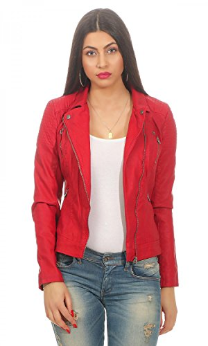 ONLY Damen onlSTEADY Faux Leather Biker CC OTW Jacke, Rot Jester Red, 38