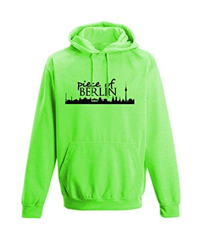 piece of BERLIN Herren Hoodie Sweatshirt Männer Kapuzenpullover Pulli   Aufdruck Skyline of Berlin   Neongrün M